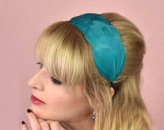 Teal Green Goose Feather Headband