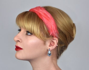 Feather Headband in Flamingo Coral Pink