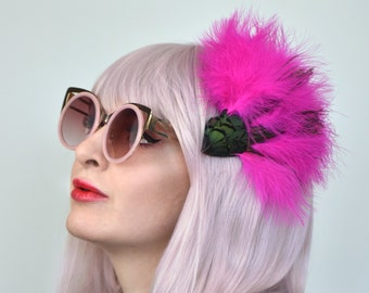 Fluffy Festival Feather Hair Clip in Blue or Pink Feathers