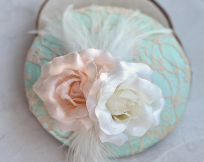 Mint and Peach Pastel Fascinator with Roses and Feathers