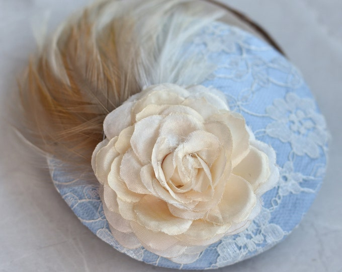 Powder Blue Fascinator with Ivory Rose and Feathers