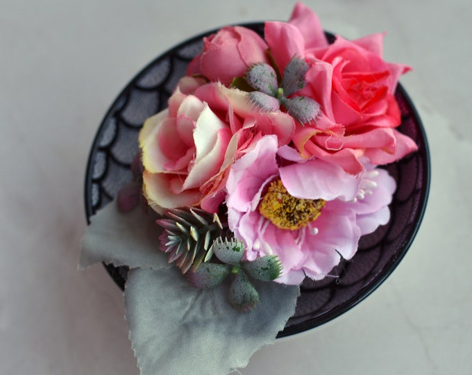 Silk Flower Hair Clip in Pastel Pink and Silver Grey