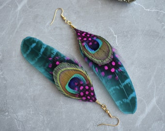 Blue, Peacock and Pink Feather Earrings