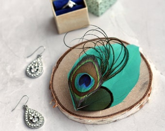 Peacock  and Teal Feather Hair Clip