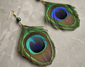 Peacock Feather Earrings with Emerald Crystal Bead
