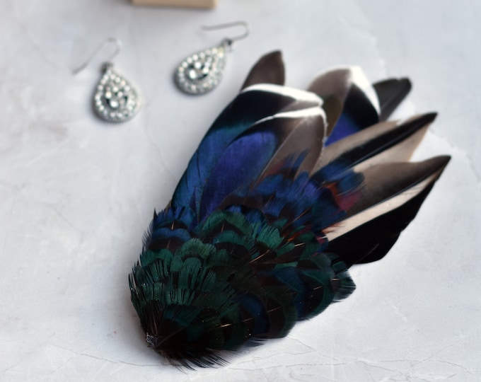 Feather Fascinator Hair Clip in Black and Blue Duck and Pheasant Feathers