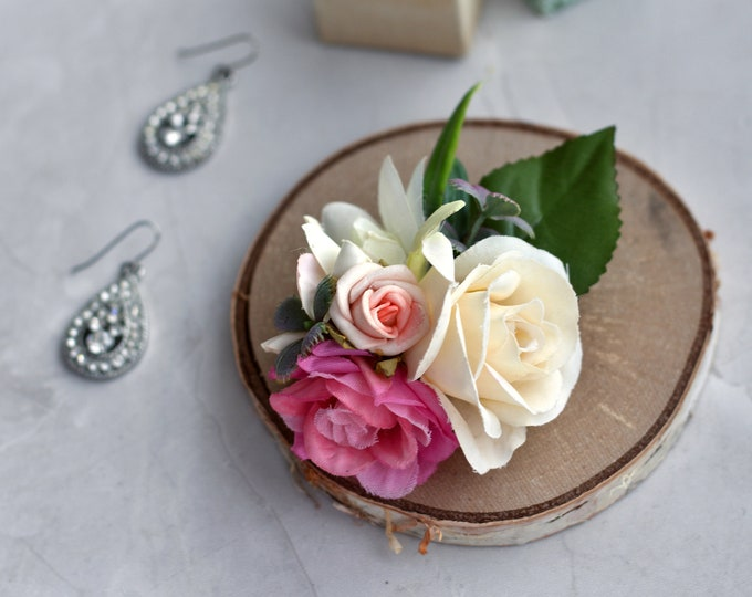 Rose Hair Clip in Pink and White