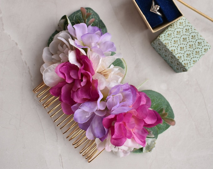 Large Pink and Purple Blossom and Eucalyptus Hair Comb