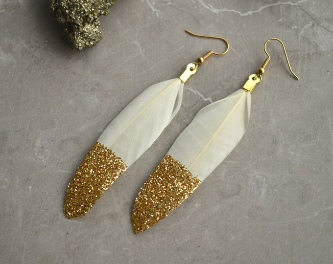 Ivory Feather Earrings with Gold Glitter Tips
