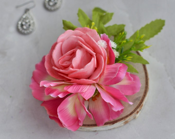 Silk Flower Hair Clip in Pink Roses and Cosmos