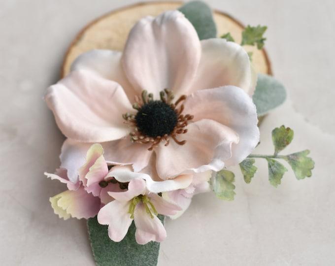 Blush Pink Anemone Flower Hair Clip
