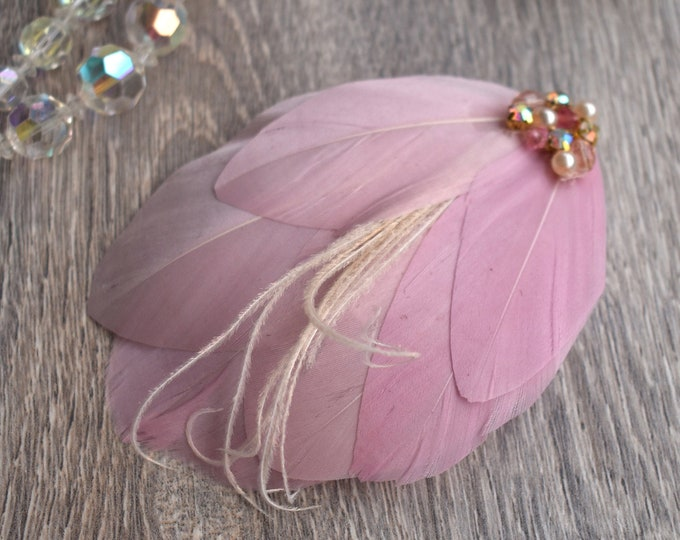 Vintage Style Feather Hair Clip in Pink Embellished with Pearls and Crystals