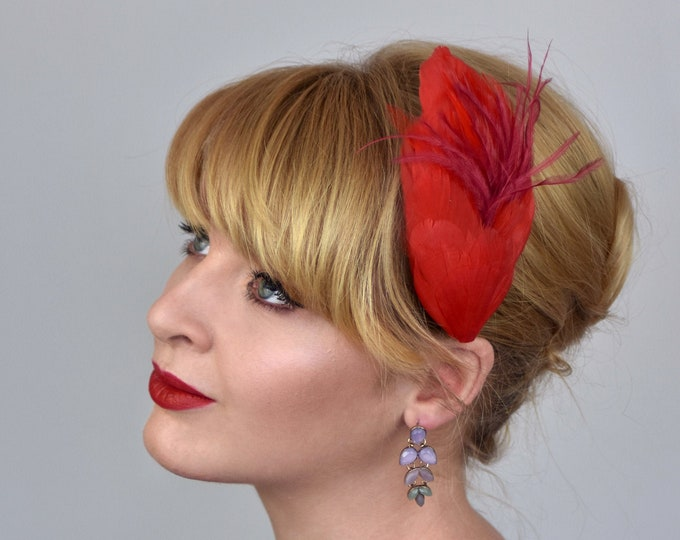 Feather Hair Clip in Red and Crimson
