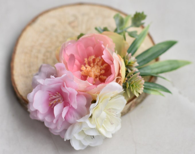 Ranunculus Flower Hair Clip in Pastel Pink and White