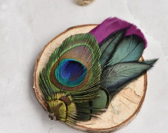 Plum Purple andPeacock Feather Lapel Pin