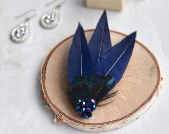 Feather Hair Clip in Navy Blue with Crystals