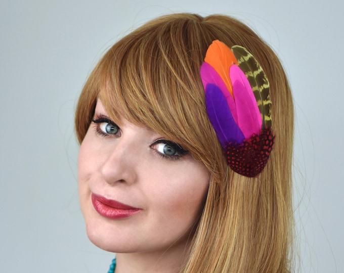 Bright Feather Festival Hair Clip Fascinator