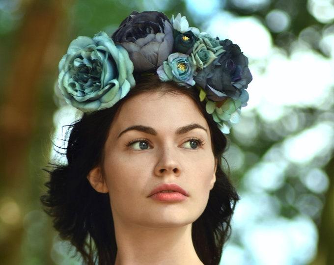 Ariel - Blue Flower Crown Headband