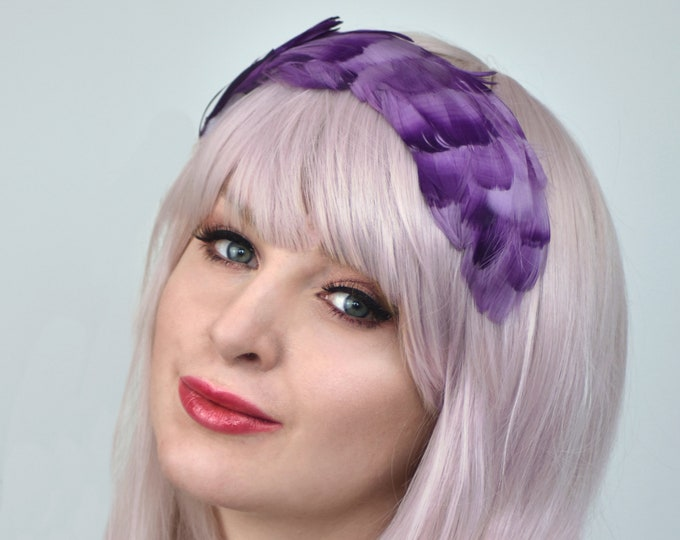Purple Feather Headpiece in Ombre Effect