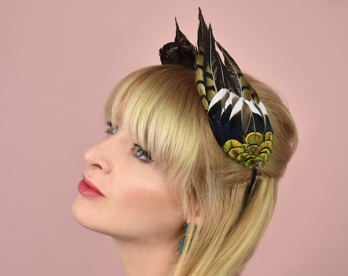 Feather Double Wing Headband Feather Crown in Gold, Green and Blue