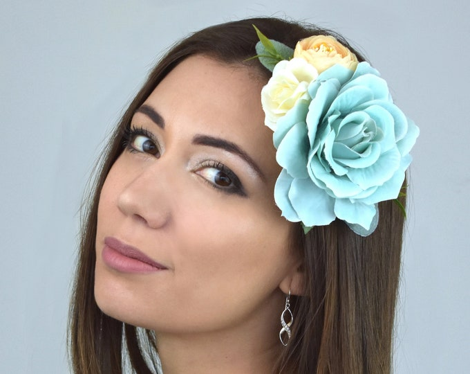 Pastel Blue, Ivory and Peach Rose Flower Hair Clip