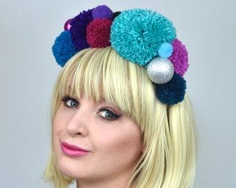 Blue, Purple and Pink Pom Pom Headband with Glitter Baubles | Festival Headband | Pom Pom Headpiece | Festival Headpiece |  Pom pom Headband