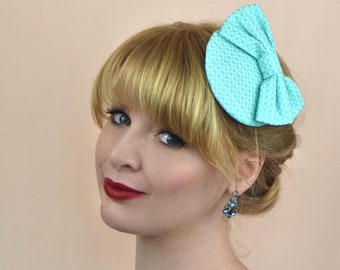 Mint Geometric Print 1950s Style Bow Fascinator c4fbf376d24