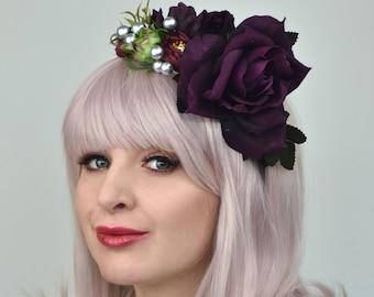 Plum Roses Bridal Half Flower Crown Headpiece
