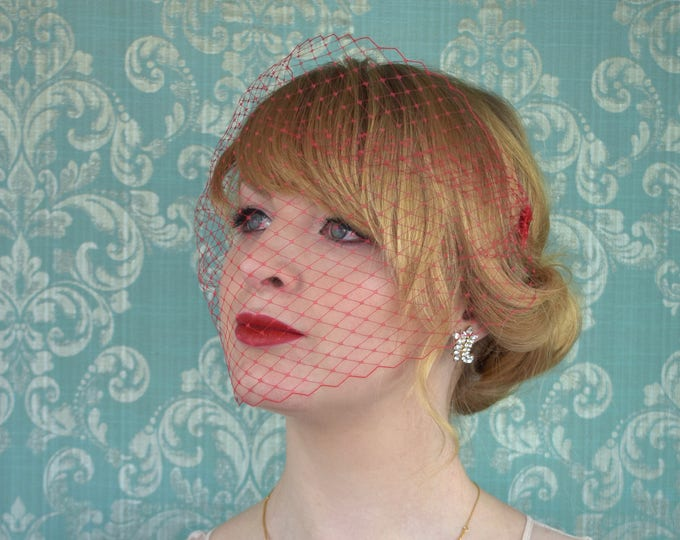 Red Birdcage Net Veil