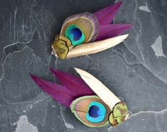 Peacock Eye Feather Hair Clip with Plum and Gold