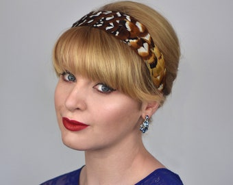 Feather Headband in Natural Reeves Pheasant Feathers | Feather Fascinator | Feather Headpiece | Bridal Headpiece | Bridesmaid Headpiece