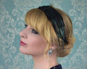 Feather Headband in Black Glossy Feathers with Green Iridescence | Feather Fascinator | Feather Headpiece | Bridal Headpiece | Black Feather