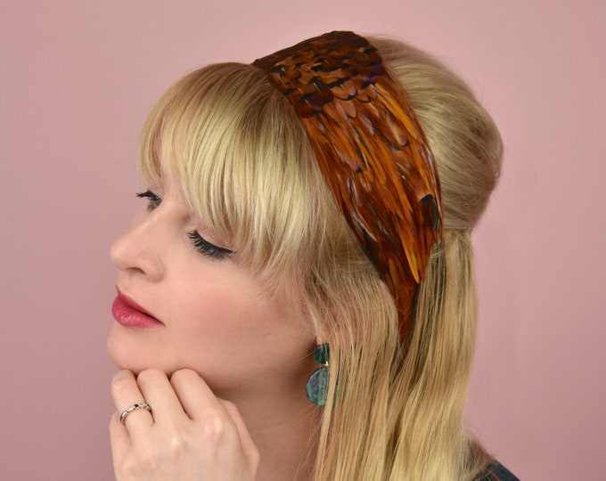 Deluxe Feather Headband in Vibrant Copper Feathers