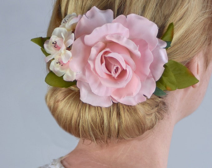 Pink Rose and Blossom Bridal Flower Hair Clip