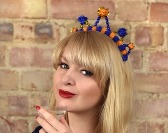 Tinsel Crown Headband in Gold and Blue