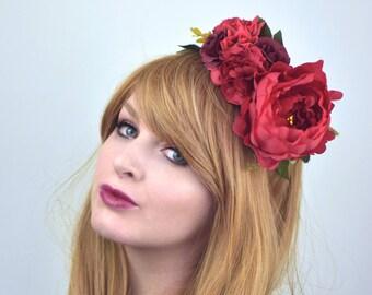Red Half Flower Crown Headband | Halloween Flower Crown | Peony Flower Crown | Red Flower Crown | Festival Flower Crown | Day of the Dead