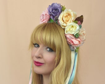 Pastel Rose and Succulent Flower Crown with Long Ribbons No.2