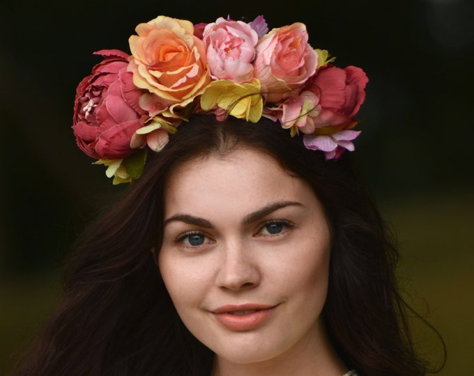 Betty - Flower Crown Headpiece in Bright Pink Yellow