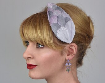 Feather Hair Clip in Pastel Lilac and Silver Grey