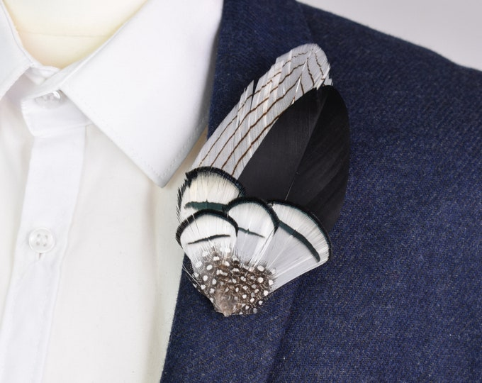Feather Lapel Pin in Black and White