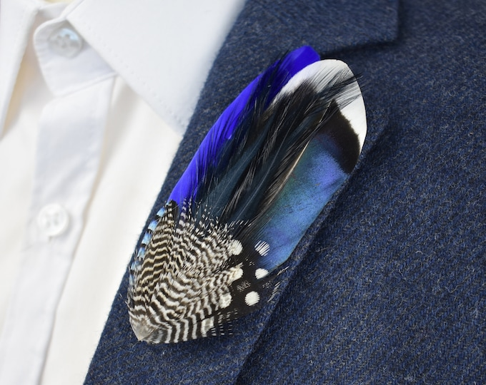 Blue Duck Feather Lapel Pin