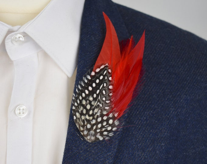 Red and Spotted Feather Lapel Pin
