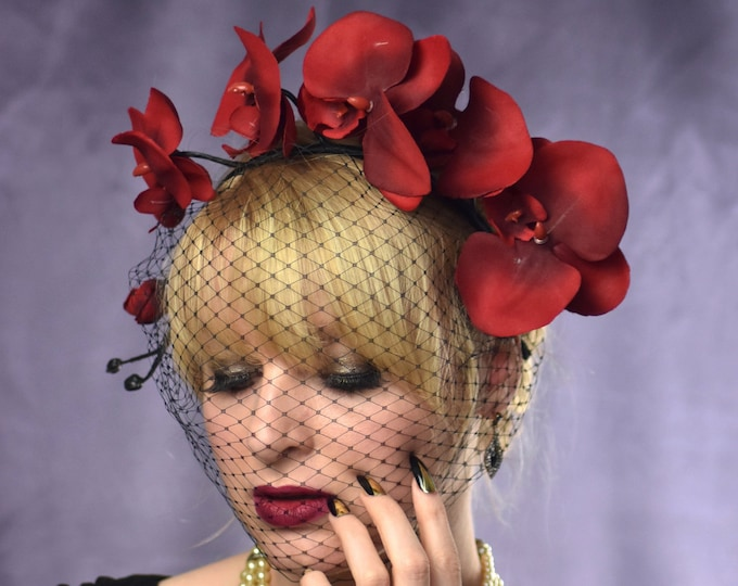 Red Orchid Floral Headpiece