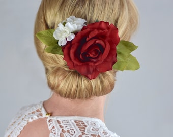 Red Rose and White Blossom Bridal Flower Hair Clip
