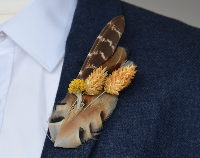 Pheasant Feather Lapel Pin with Golden Dried Flowers