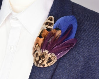Blue, Plum and Pheasant Feather Lapel Pin