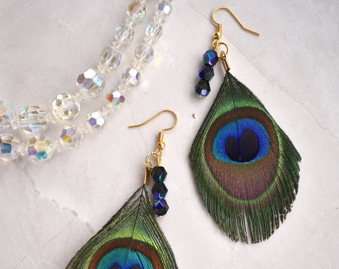 Crystal and Peacock Feather Drop Earrings