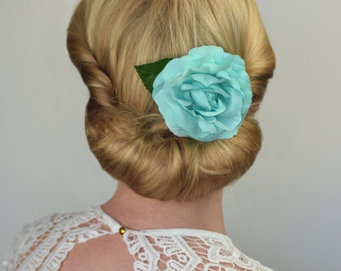 Turquoise Camelia Rose Hair Clip