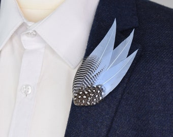 Pastel Blue and Monochrome Feather Lapel Pin