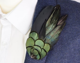 Feather Lapel Pin in Black and Green